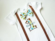 First Birthday Boy Suspender Bodysuit with by sarasweetandsmall, $28.00