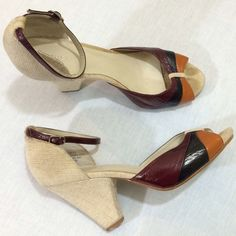 BCBGirls Tweed Peep Toe Ankle Strap Pumps Great condition and prefect for fall. Wear these with a pair of tights and you're ready for chilly weather. Minor wear on heels. BCBG Shoes Heels