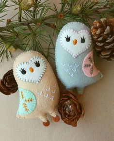 Felt PDF sewing pattern  Cute owl ornament  Christmas