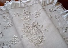 antique monogrammed French carriage (pram) robe ... ca. 1910