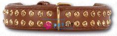 Swarovski Strass Extreme Brown/Gold 30 mm - Swarovski Strass Extreme Brown/Gold 30 mm Hundehalsband aus echtem Leder. Aussen besetzt mit funkelnden Strasssteinen von Swarovski und innen mit weichem Ka