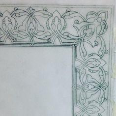 Illuminated Letters, Illuminated Manuscript, Arabesque, Leather Tooling Patterns, Islamic Patterns, Turkish Art, Carving Designs, Border Design, Tile Art