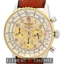 #Breitling #Navitimer 92 Chronograph 38mm iN Stainless Steel With An 18k Yellow Gold Bezel And A Silver Arabic Dial From The 1990's (A30022)