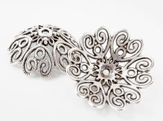 2 Extra Large 28mm Ornate Filigree Matte Silver by LylaSupplies, $4.50