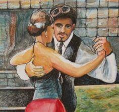 Tango Lesson ORIGINAL Modern Impressionism in Frame by Jeff Sterling. Boca Raton Florida, Modern Impressionism, India Ink, Ink Color, Tango, Original Art, Latin America, Landscape, The Originals