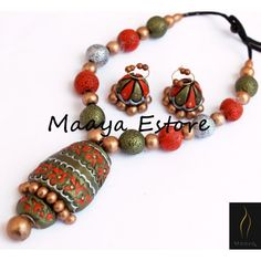 Shop for latest fashion Jewellery Designs at Craftsvilla. Terracotta Jewellery Online, Terracotta Jewellery Designs, Leather Jewelry, Beaded Jewelry, Beaded Necklace, Ceramic Jewelry, Polymer Clay Jewelry, Teracotta Jewellery, Earrings Handmade
