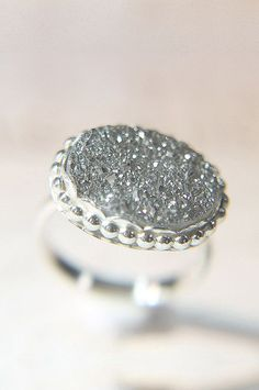 Silver Druzy Cocktail Ring Drusy Statement Ring