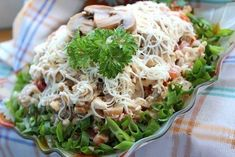 """Salad """"Alex"""" You need: chicken breast fillet - tomato - 2 pieces (medium size). canned mushrooms gr Canned Mushrooms, Stuffed Mushrooms, Chicken Breast Fillet, Good Food, Yummy Food, Russian Recipes, Buffet, Cabbage, Salads"""