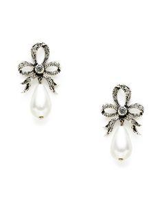 Bow & Pearl Drop Earrings