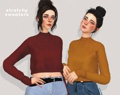 Pure Sims - Stretchy sweaters for The Sims 4