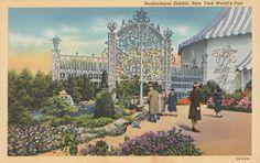 NEW YORK WORLDS FAIR 1940 LINEN POSTCARD HORTICULTURE EXHIBIT Curt Teich