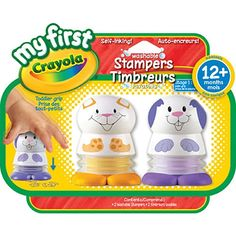 2 ergonomically designed character stampers that are sized just right for toddler hands to help develop gross and fine motor skills. Cute characters for added play. Washable. Stamper comes in two colours: Orange and Purple.<br><br>My First Crayola provides children with art supplies and activities made especially for their little hands, so they can explore, express, create and connect.