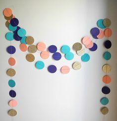 Glitter-Girlande, Kreis Papier, coral pink Baby-Dusche-Dekor, Kinderzimmer Dekoration, Gold Koralle blaugrün lila Girlande, Mädchen-Geburtstag-Partei-Girlande