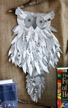 Owl made from discarded book pages for library reference collection display. What a hoot! Book Page Crafts, Book Page Art, Book Art, Library Book Displays, Reading Display, Owl Crafts, Paper Crafts, Recycled Book Crafts, Library Inspiration