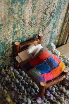 Sweet Dreams Little Mice Bed: The bed has a mattress, one pillow, sheets, a warm knitted blanket for winter.  Measures:  Length: 10cm / 4   width: