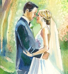 Custom Paper Anniversary Wedding Portrait:  Watercolor