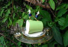 Mini Tea Cup Bird Feeder Vintage Recycled Tea Cup by mscenna