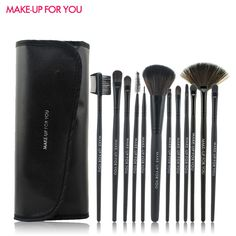 Makeup Brushes Pinceaux Maquilage 12 Pcs Makeup Brushes Set Foundation Cosmetics Make Up Brushes With Leather Bags Wooden handle