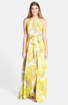 Beaded Print Chiffon Maxi Dress summer long sexy