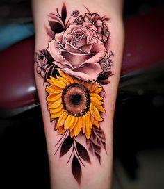 Sunflower Tattoo Sleeve, Sunflower Tattoo Shoulder, Sunflower Tattoos, Colorful Sunflower Tattoo, Rose Tattoos For Women, Sleeve Tattoos For Women, Female Tattoo Sleeve, Pretty Tattoos, Cute Tattoos