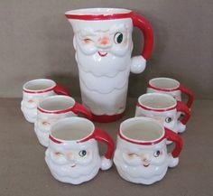 Vintage Christmas 1950 S Napco Ceramic Santa Planter