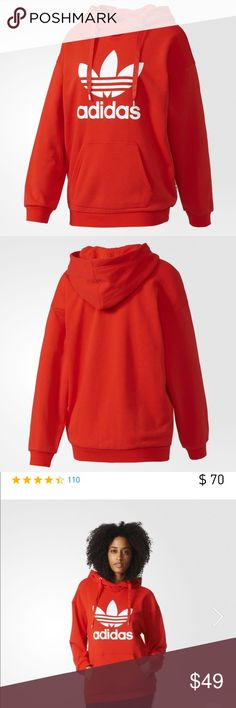 Adidas Trefoil Hoodie size M Woman's Adidas Hoodie in Cosmic Red Size M. Super Comfy with metal detail on strings (see pictures). Like new worn maybe 3 times. Washed once. Authentic Adidas. Adidas Sweaters