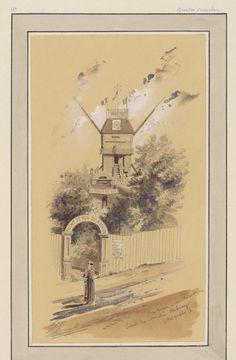 Watercolour & ink partial sketch of scene with lady outside fence surrounding a Parisian mill. Title: Rue Lepic à Montmartre - Entrée du Moulin Debray (Bal public) Designed by: Jules-Adolphe Chauvet