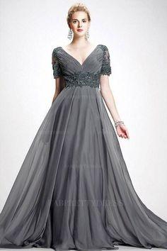 A-Line/Princess V-neck Sweep/Brush Train Chiffon Mother of the Bride Dress