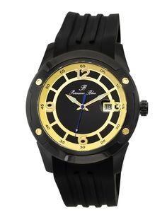 Porsamo Bleu Men's Men's Tokyo Automatic Black Enamel & Silicone Watch
