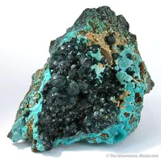 Pseudomalachite on Chrysocolla, Mt. Glorious Mine, Cloncurry, Queensland, Australia, Small Cabinet, 6.3 x 5.1 x 3.4 cm, Pseudomalachite is a phosphate, NOT a carbonate like malachite, and the two are often mixed up in favor of malachite., For sale from The Arkenstone, www.iRocks.com. For more details on this piece and others, visit http://www.irocks.com/minerals/specimen/6061