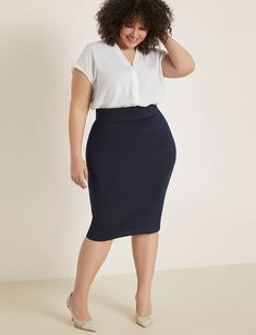 View our Neoprene Pencil Skirt and shop our selection of designer women's plus size Skirts, clothing and fashionable accessories. Business Professional Outfits, Business Casual Outfits For Women, Office Outfits Women, Summer Work Outfits, Casual Work Outfits, Work Attire, Plus Size Professional, Casual Professional, Plus Size Business Attire