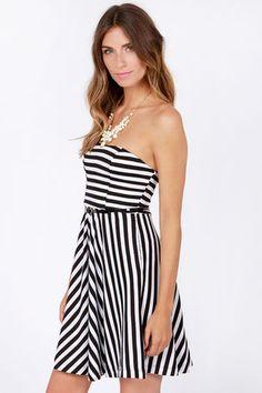 Cute Strapless Dress - Black and White Dress - Striped Dress - $37.00