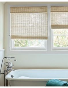 Curtains by marisel folgueras on pinterest roman shades for Natural woven flat fold shades