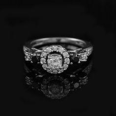 Round Diamond Engagement Ring w/ Halo & Black Diamond Accents 14K White Gold