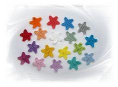 Häkelapplikationen - 7 Sterne - gehäkelt, Applikationen, Stern, stars crochet