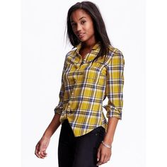 Old Navy Womens Classic Plaid Flannel Shirt ($27) ❤ liked on Polyvore featuring tops, petite, yellow multi plaid, yellow long sleeve shirt, petite tops, yellow top, white flannel shirt and white top