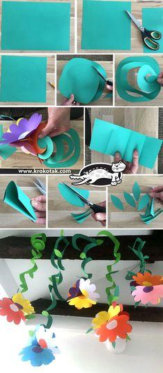garland of flowers krokotak Paper Flower Garlands, Paper Flowers Diy, Flower Crafts, Flower Art, Summer Crafts For Kids, Spring Crafts, Art For Kids, Preschool Crafts, Easter Crafts