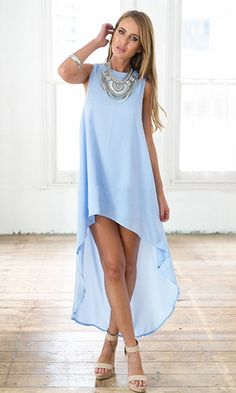 New Attitude Baby Blue Sleeveless Crew Neck Loose High Low Asymmetric Mini Maxi Dress