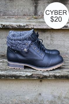 Mountain Trek Black Cuffed Ankle Boots
