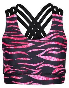 If Animal Print Drives You Wild, You'll Love This Season's Hybrid Pattern, Zebra Cobra Blush By Tikiboo. Featuring Vivid Zebra Stripes In Black, Pink And Snakeskin, This Is A Best-in-breed Bra For Moderate Impact Workouts. Workout Tops, Snake Skin, Workouts, Contrast, Stripes, Animal, Detail, Stylish, Lady
