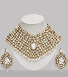 Stone & Pearl Studded Wedding Jewellery Set : Online Shopping, - Shop for great products from India with discounts and offers, Indian Clothes and Jewelry Online Shop Wedding Jewelry Sets, Wedding Accessories, Bridal Jewelry, Fashion Accessories, Fashion Jewelry, Gold Jewelry, Indian Jewelry Sets, Pearl Studs, Jewelery