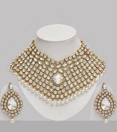 Stone & Pearl Studded Wedding Jewellery Set