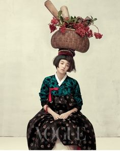 Vogue Korea does it again.Two of my personal all time favorite fashion shoots ( here and here ) were found in Vogue Korea's illustrious p. Fashion Shoot, Look Fashion, Fashion Art, Editorial Fashion, Vogue Korea, Korean Traditional Dress, Traditional Dresses, Modern Hanbok, Korean Dress