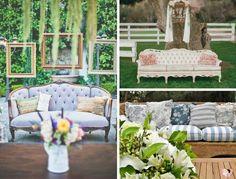 Pode-se criar em um casamento no campo um descontraído ambiente tipo lounge, com itens de visual rústico e campestre.