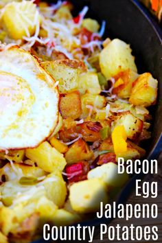 Breakfast is here and it's delicious. Fill up on this Bacon, Egg, Jalapeno Country Potatoes before you head out for the day to play! #VivaLaMorena,#RediscoverLaMorena #ad