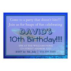 "Reef Shark Birthday Invitations 5"" X 7"" Invitation Card"