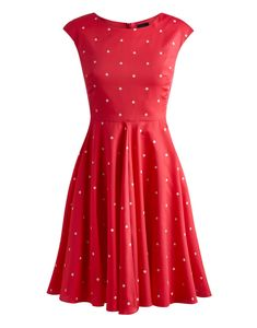 Joules Women's 50s Style Dress, Bright Pink Spot.                     We believe that you're never too old to swirl and twirl and this 50s inspired frock is perfect for the occasion.  With a higher cut neckline, cap sleeves and a full circle skirt we defy you not to give it a spin.
