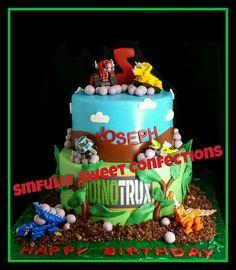 Dino Truxs Birthday Cake Harry Birthday, Dinosaur Birthday Party, 4th Birthday Parties, Birthday Bash, Birthday Ideas, Dinotrux Cake, Little Man Birthday, Novelty Cakes, Themed Cakes