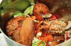How to Make Rich, Tasty Lobster Stock is part of How To Make Rich Tasty Lobster Stock Thespruceeats Com - Make lobster stock with leftover shells and bodies of either Maine or spiny lobsters This recipe also can be adapted to make lobster broth Seafood Stock, Fish And Seafood, Fish Recipes, Seafood Recipes, Cooking Recipes, Cooking Tips, Hawaiian Recipes, Soup Recipes, Fiesta Party
