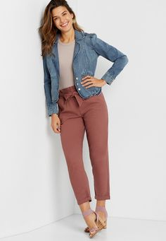 High Rise Brown Linen Tie Waist Ankle Pant | maurices Summer Workout Outfits, Casual Work Outfit Summer, Work Casual, Summer Outfits, Workwear Fashion, Work Fashion, Women's Fashion, Fasion, Street Fashion
